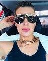 De gran tamaño Superior Plana de Oro Rosa de Plata Hombres Mujeres Espejo Gafas de Sol de Moda Diseñador de la Marca de gafas de Sol Frescas al por mayor Femenina 2017 Nuevo