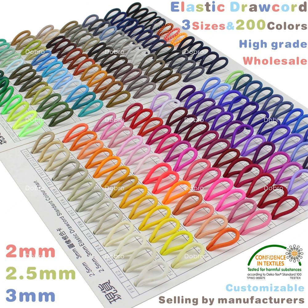 3 Sizes Bungee Elastic Drawcord for Garment Shoe Bag Gift Box Craft 200 colors 2mm2.5mm3mm Eco-friendly Colorfast