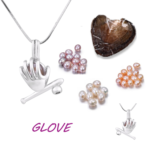 Glove cage pendant Silver Plated with Vacuum oyster pearl great Fashion mix Style Jewelry Valentine's day meaning present  PO148