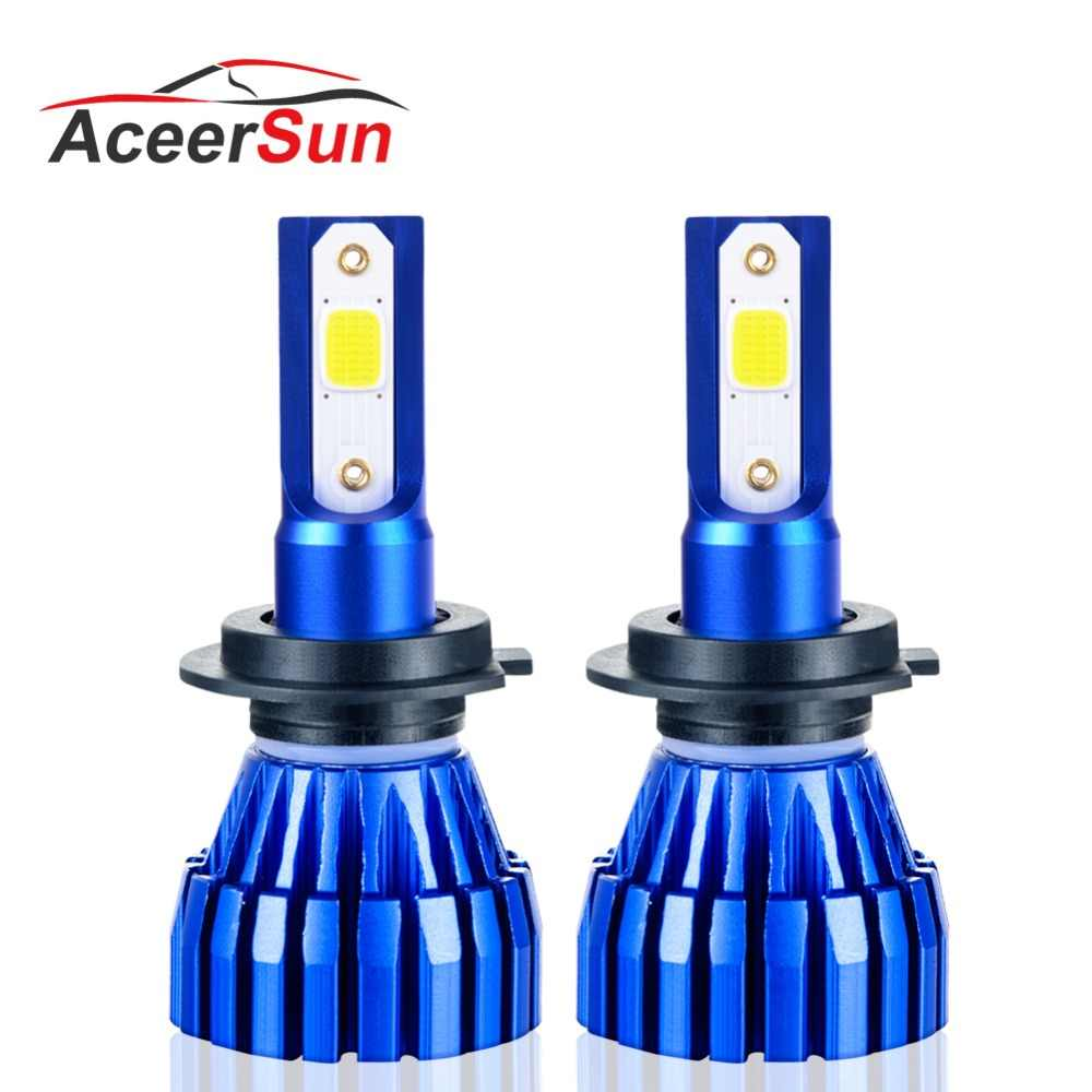 Aceersun 2Pcs 9005 HB3 9006 HB4 H11 H4 H7 Led H1 Auto Car Headlight 72W 8000LM 6500K Automobile Bulb COB CHIP 4300k H3 Fanless