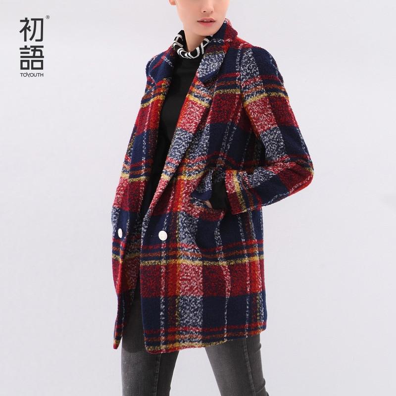 Toyouth зима Для женщин шерсть пальто в клетку с длинными рукавами-Длина отложным H Стиль верхняя одежда