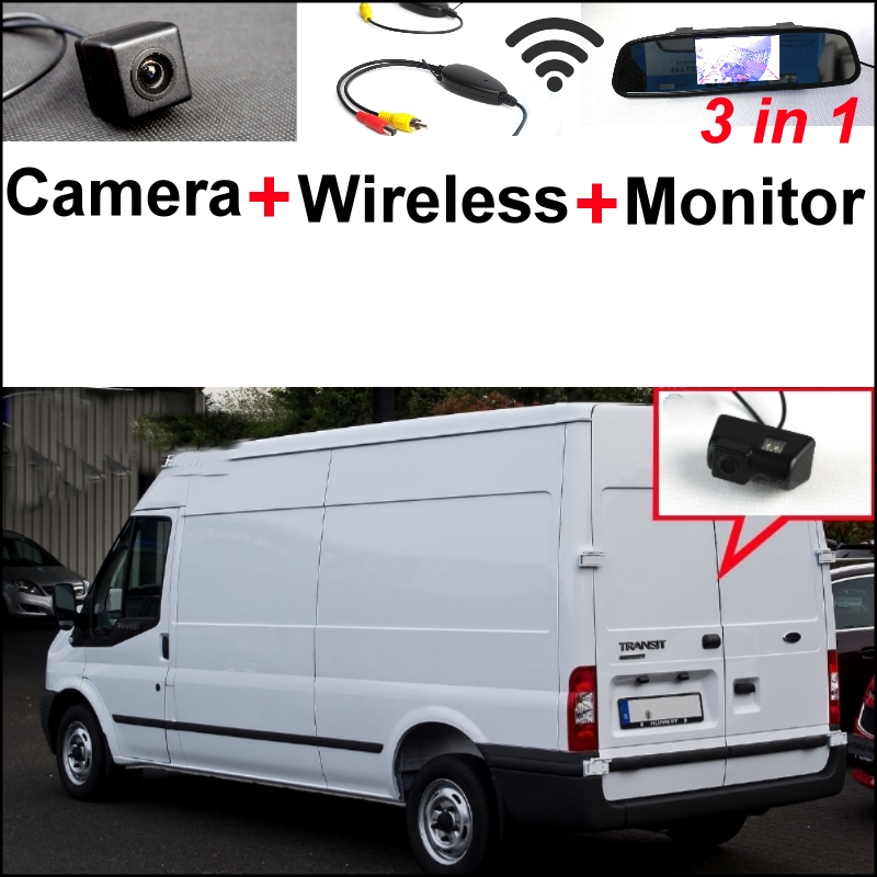 For Ford Transit 2000~2015 Wireless Receiver +  3 in1 Special Rear View Camera + Mirror Monitor  Easy DIY Backup  Parking System 3 in1 special rear view camera wireless receiver mirror monitor parking system for ford ecosport 2013 2015