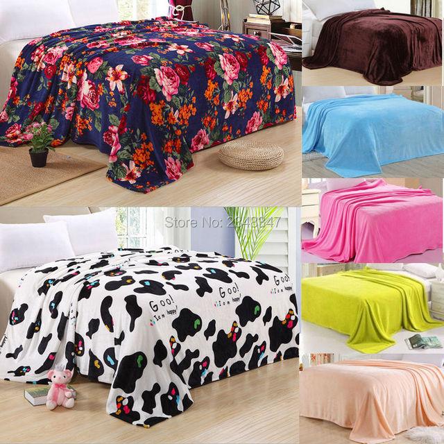 Warm Plush Soft Thin Faux Mink Flannel Fleece Blanket Throws Sheet  Twin/Full/Queen
