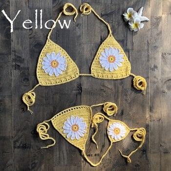New Arrival Handmade Crochet Flower Micro Bikini G Thong String Beach Micro Swimwear Sexy Lingerie Sets 2019 3