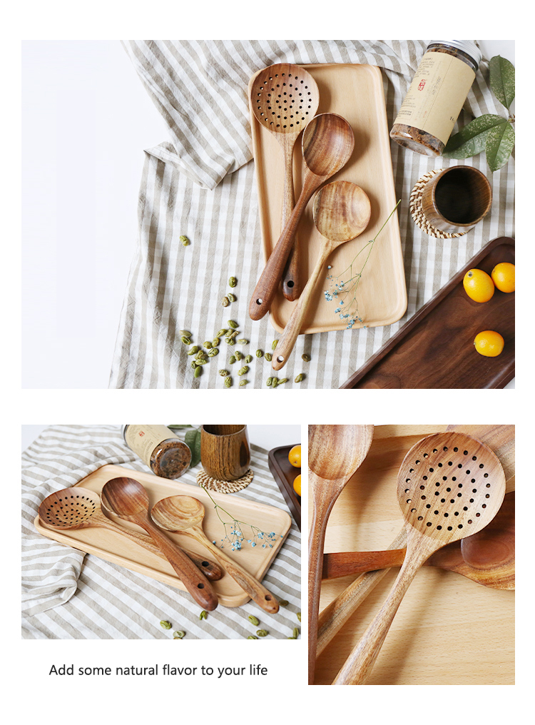 Thailand Teak Natural Wood Utensil Set Spoon Ladle Turner Long Rice Colander Soup Skimmer Cooking Spoons Scoop Kitchen Tool Set 73