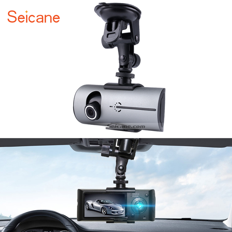 Seicane GPS Car 2 Lens Camera Video Recorder with HD 140 Degree Wide Angle Front View and 120 Degree Rear View Camera Microphone