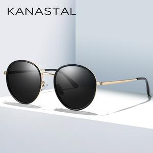 Image 2 - אופנה עגול מקוטב משקפי שמש נשים בציר אלגנטי נהיגה Eyewear מתכת מסגרת נקבה Oculos דה סול UV400