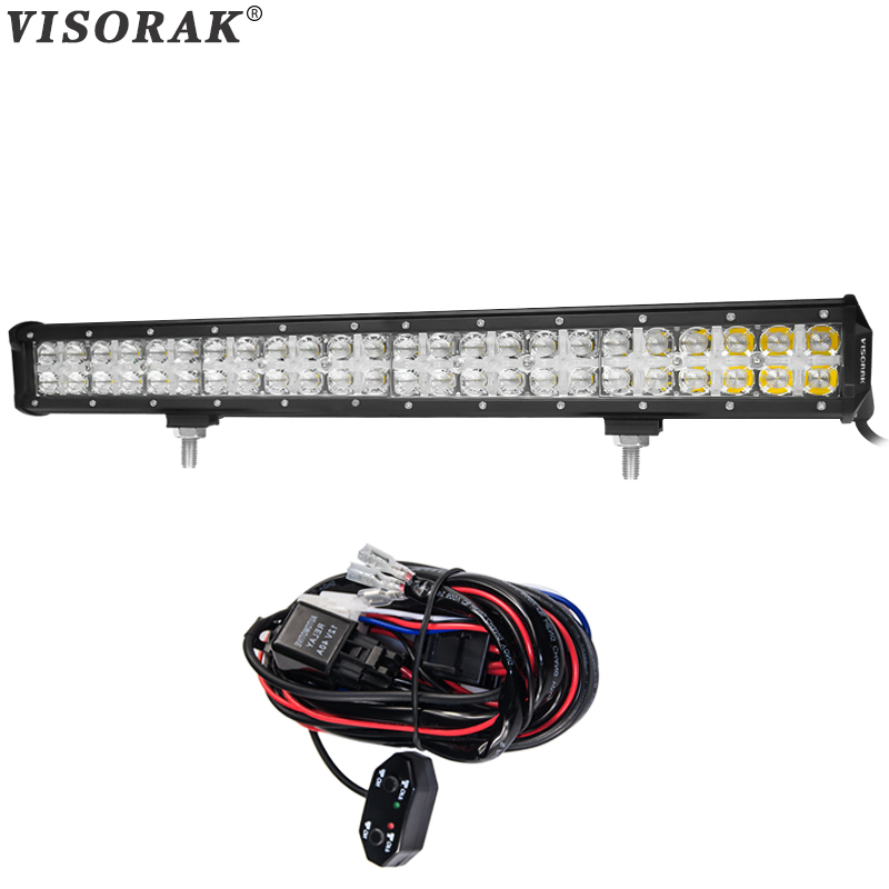 VISORAK 7D 23inch CREE Chips LED Light Bar 240w Combo Beam Cross DRL LED Bar 4x4 Truck Wagon For Volkswage Ford Jeep GMC SUV ATV