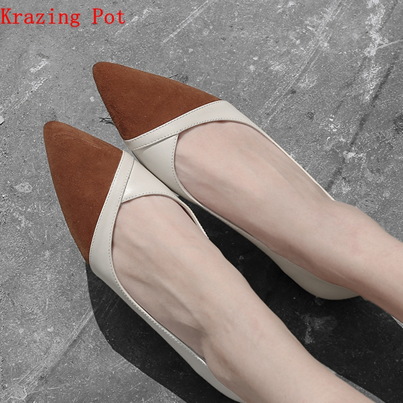 Krazing pot full grain leather slip on women pumps mixed color gladiator European style pointed toe career daily wear shoes L91 free shipping 2017 full grain leather women fashion mixed colors casual pumps slip on ladies office