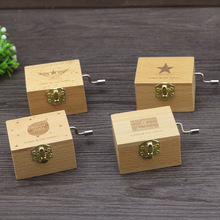 2016 Hot (1 pcs/lot)Mini Wooden Hand-cranked Music Box Star Crafts Case Kids Toys Birthday Christmas Gift