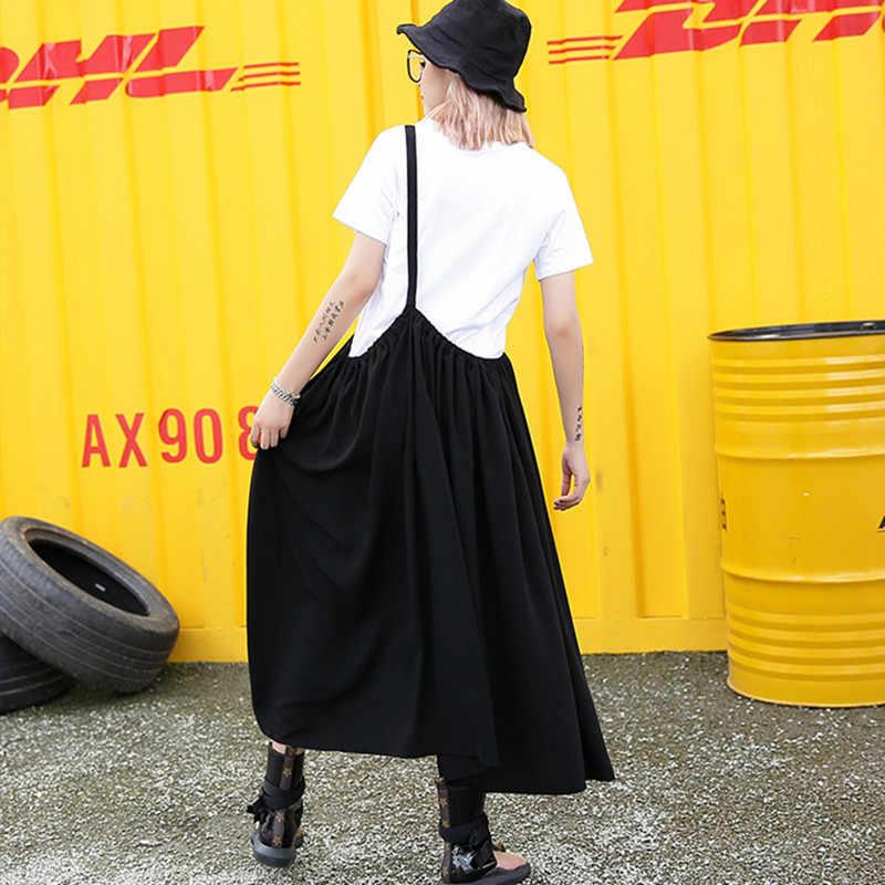 Johnature nowe z krótkim rękawem jednolity kolor Plus nowy dwuczęściowy zestaw kobiety 2019 lato luźne Streetwear pasek kobiety zestawy moda