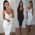 2016 New Women Sexy Spaghetti Strap Rayon HL Elastic Celebrity Bandage Dress Bodycon Mini Club Party Dresses Drop Ship