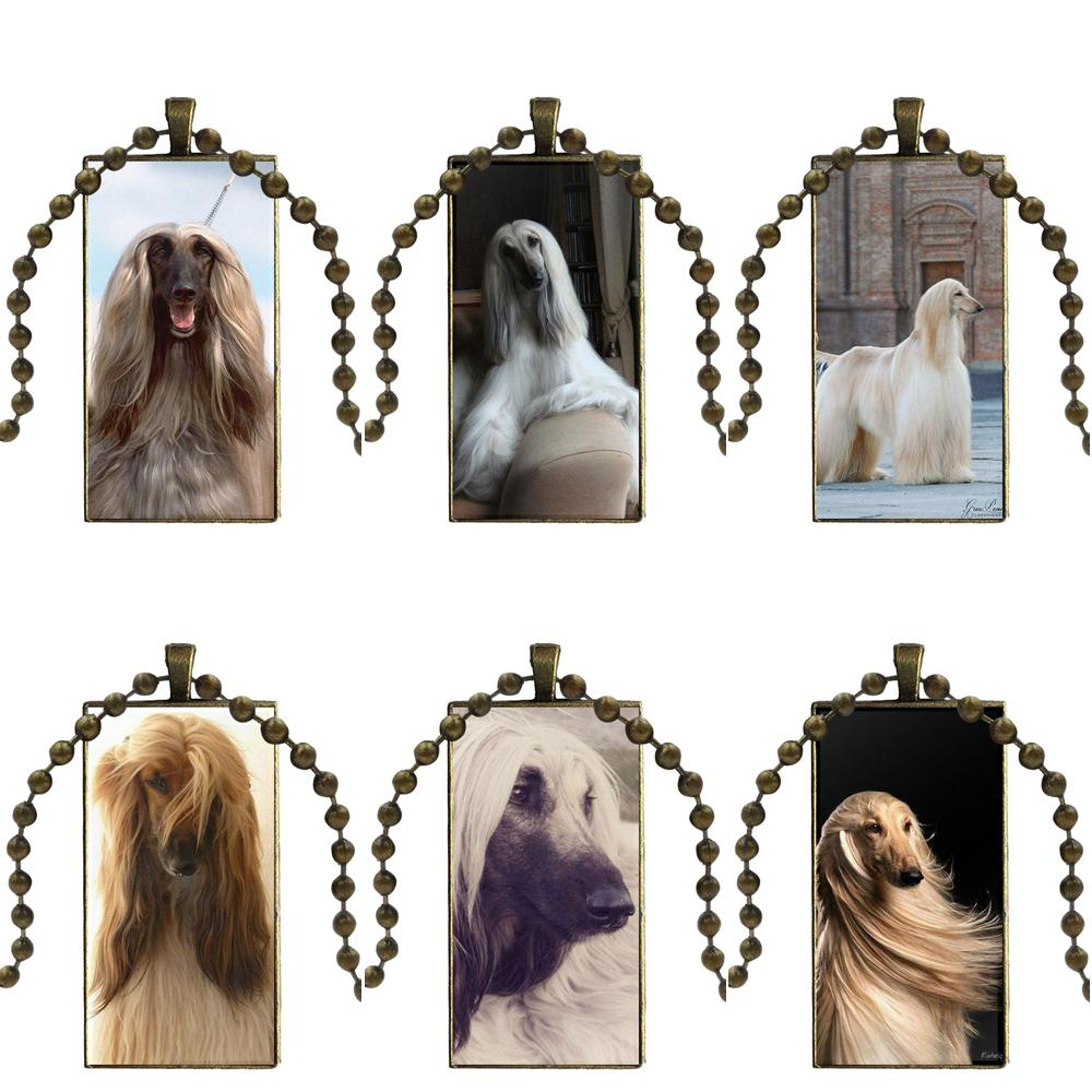 EJ Glaze Afghan Hound Dog For Women Handmade Girls Glass Pendant Galaxy Pendant Necklace Women Bronze Plated Necklaces Jewelry