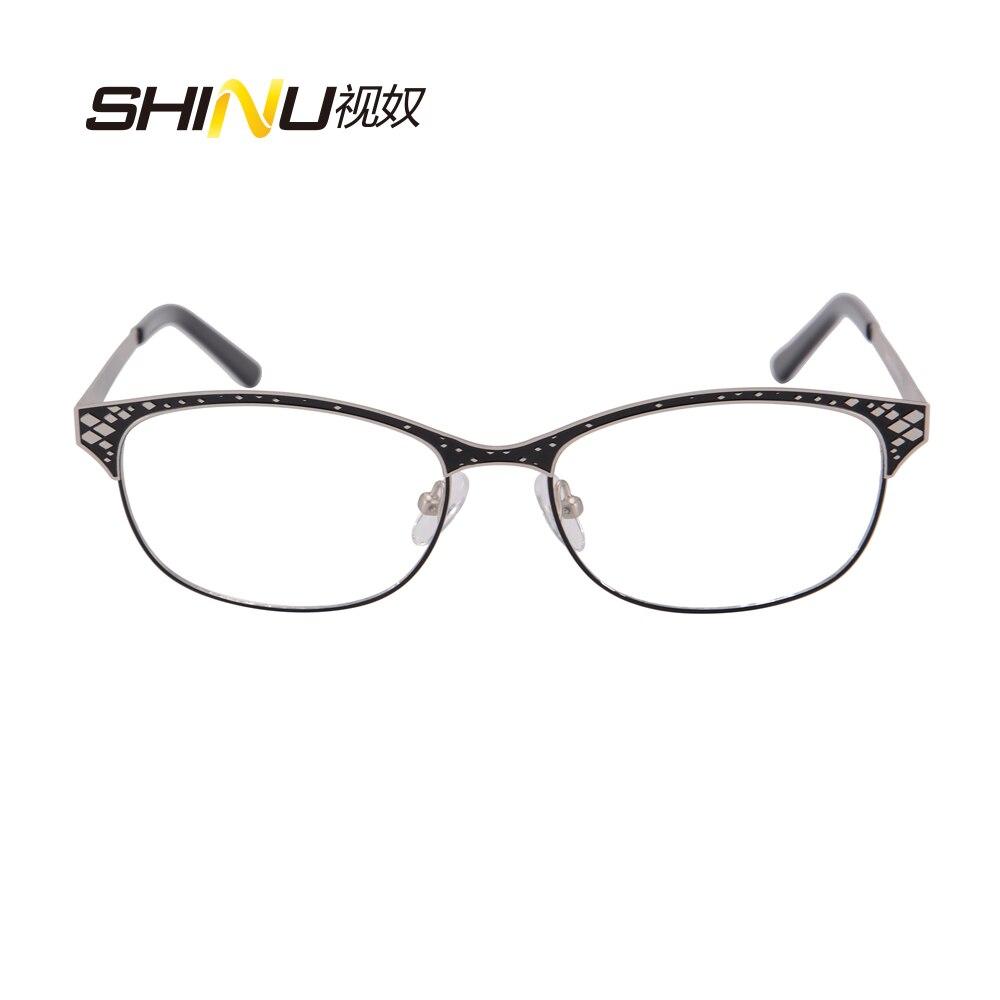 Metall Glasrahmen Frau Mann halbrand edelstahl Brille doppel farbe ...