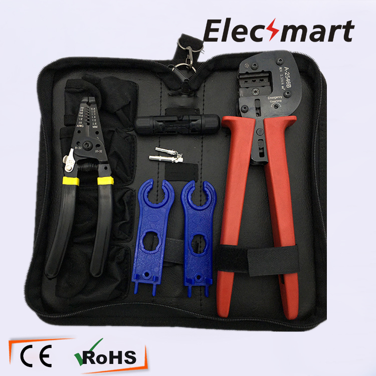A-2546 Crimping Plier Wire Stripper Set with MC4 Connector MC4 Wrench pneumatic crimping tools plier with 15 sets of dies