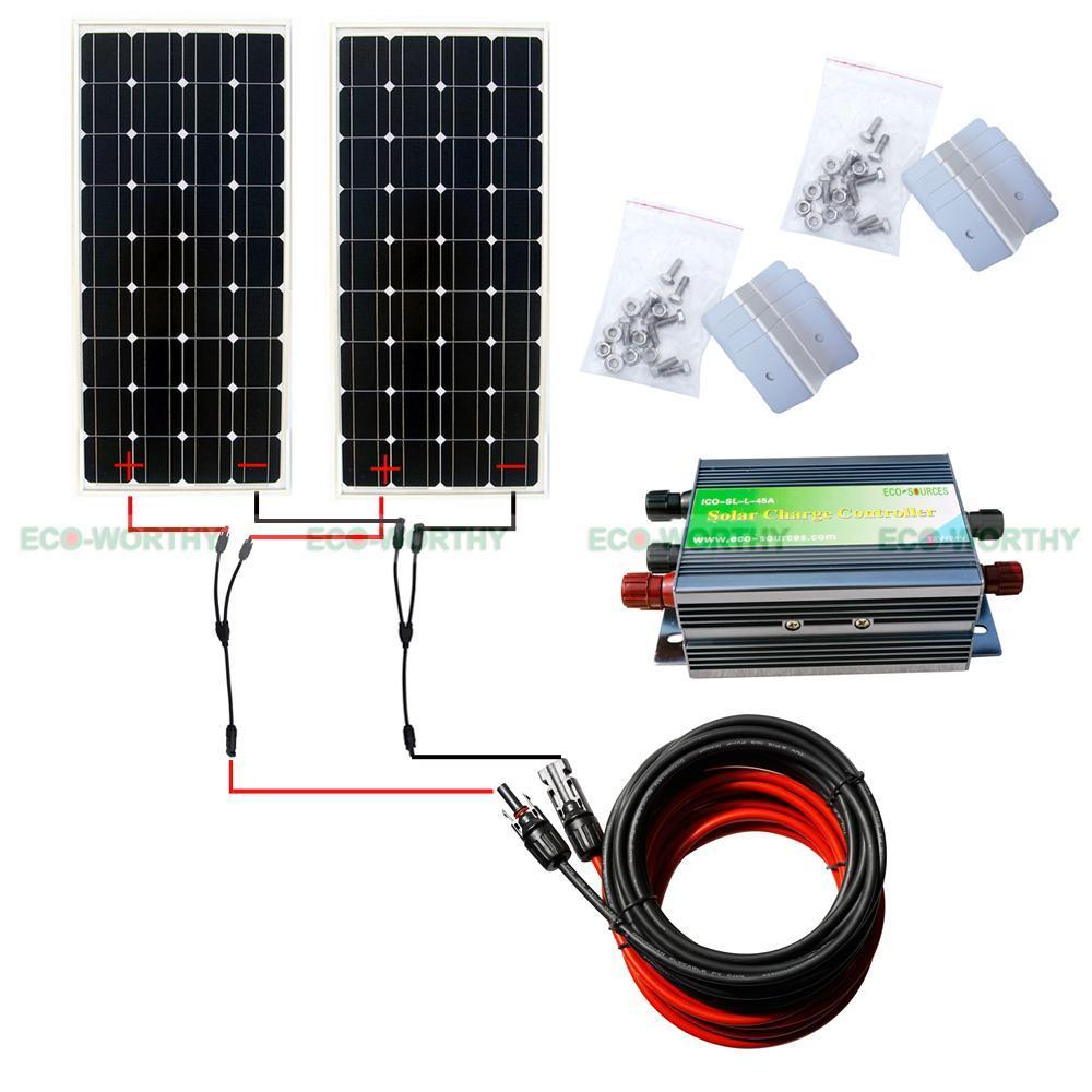 COMPLETE KIT: 300 W 2x150w Photovoltaic PV mono Solar Panel for 12V RV Boat, 300w solar home system *