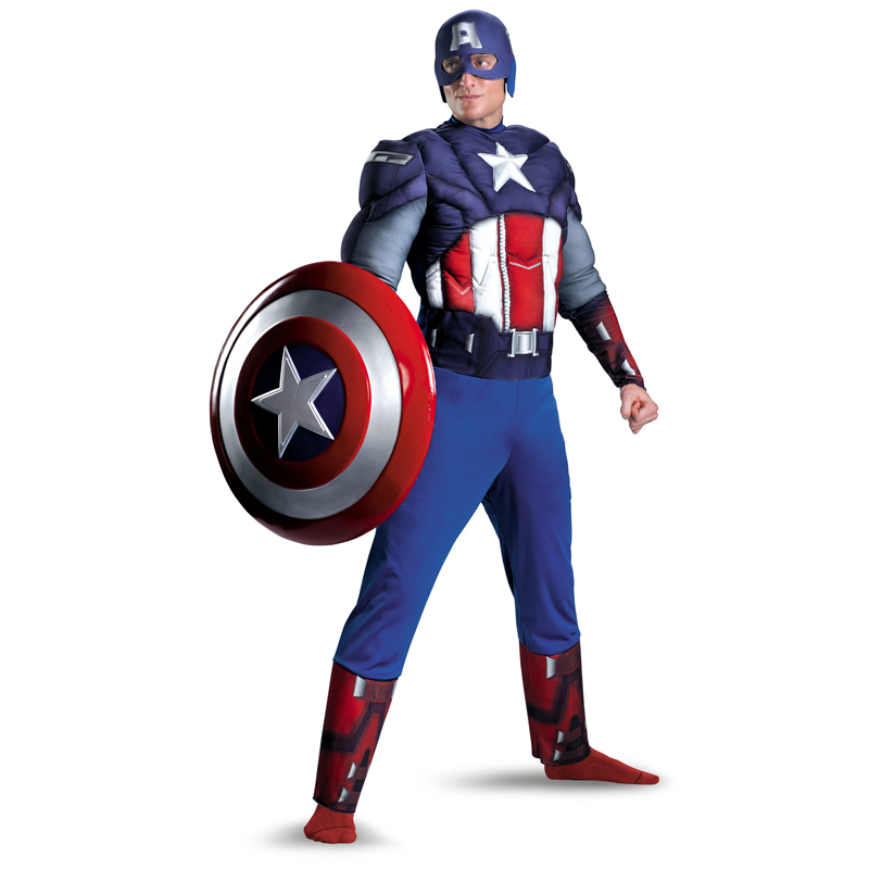 Adult Men Captain America Muscle Chest Avengers Cosplay Costume Cois Superhero Fantasy  Cosplay Clothes  Men's Party Bodysuit