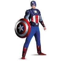 Adult Men Captain America Muscle Chest Avengers Costume Marvel Superhero Fantasy Movie Fancy Dress Cosplay Clothing
