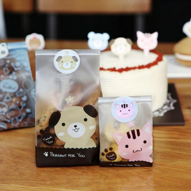 50pcs/lot Plastic Biscuit Cookie Bags Baking Packs Sac Plastique Cute Dog Cat Pattern Packaging for Cookies Party decoration bag
