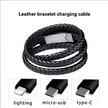 Portable Leather Bracelet Charger Cable Type-C USB Bracelet Charger Data Charging Cable Sync Cord for IPhone Android Phone Cable(China)
