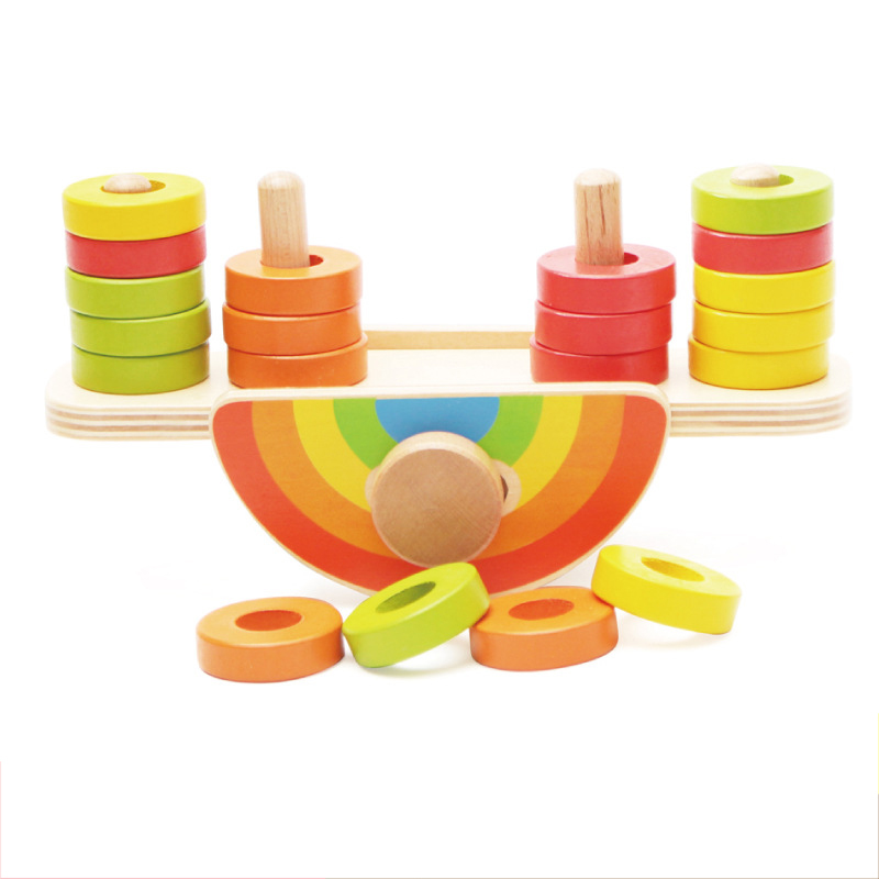 Rainbow Balance Toy Wooden Intelligence Early Learning Toys For Children Kids Gift Montessori Educational Toy CD2566H catch the worm magnetic toys for children early learning educational toy wooden puzzle game colorful toy for kids p20