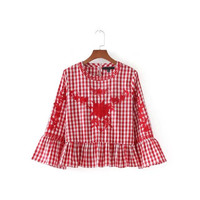 QPFJQD New Sweet Floral Embroidery Plaid Shirt Flare Bell Sleeve Ruffles Vintage Blouse Ladies Casual Tops