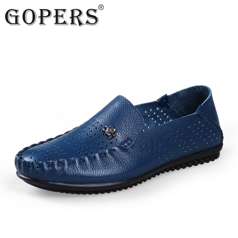 GOPERS Genuine Leather Men Casual Shoes Summer Breathable Soft Driving Men's Handmade Chaussure Homme Net Surface Loafers