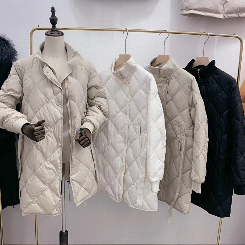 WSYORE 2019 New Autumn and Winter Women Slim Temperament Duck   Down   jacket Female Korean Grid   Down     Coat   NS1172