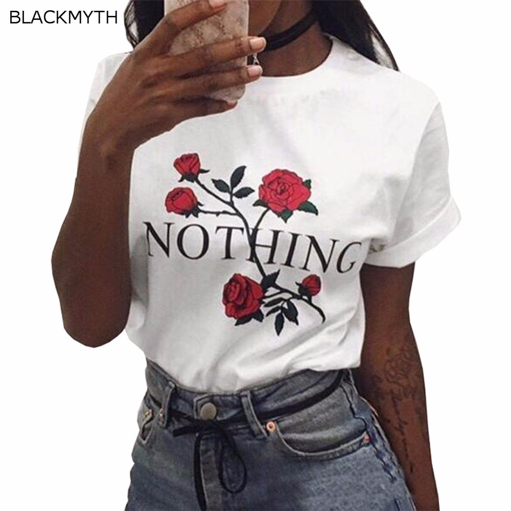 f0f09d99 Blackmyth Popular Rose Flower Nothing Graphic Printed Girls Summer T