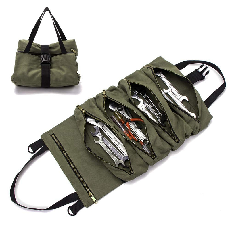 Pouch Tote Hanging-Tool Multi-Purpose-Tool Wrench-Roll Roll-Up-Bag Roll-Tool-Roll Zipper-Carrier