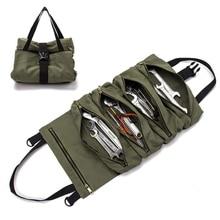Rollo de herramientas multiusos, gran oferta, bolsa enrollable, utensilio para colgar con cremallera