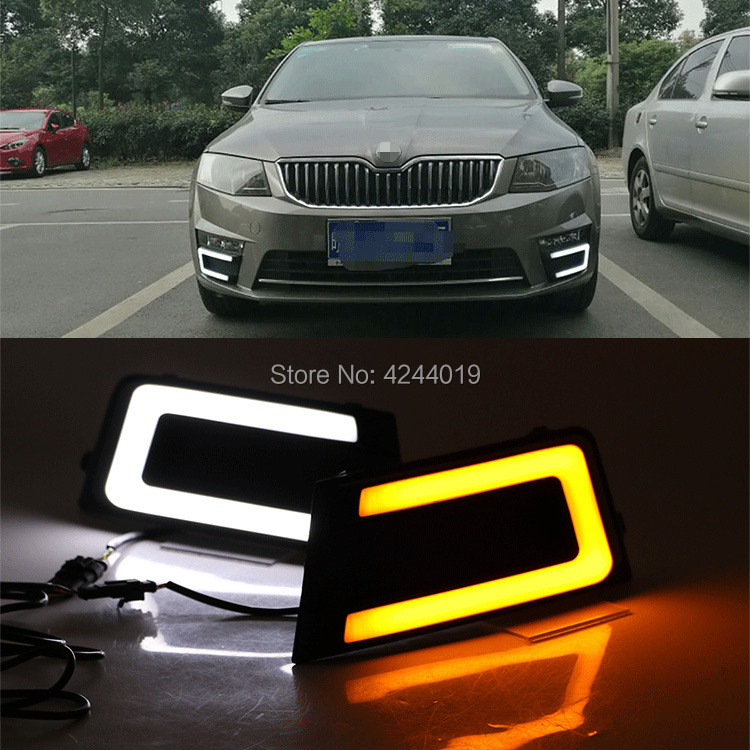 Day Light Fog Lights Fog Lamps LED Driving Light DRL Daytime Running Lights Fits 2017 Skoda Octavia