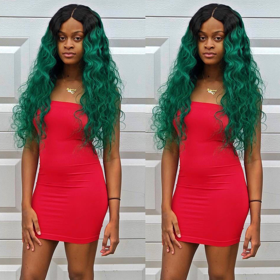 Sexay Green Ombre Human Hair Lace Closures 2 Tone 1B/Turquoise Ombre Brazilian Straight Hair Non-Remy Pre-Colored 4x4 Closures