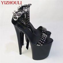 Przystojny nity i sandały, 20 cm ultra wysokie obcasy grzywny kluby nocne buty z wodoodpornymi skórzanymi sandałami