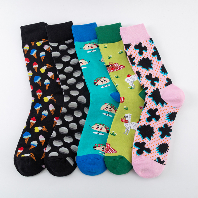 Funny Men's Cotton Socks Harajuku Creative Alpaca Puzzle Ice cream Pattern Fashion Crew Socks Novelty Dress Wedding Socks 1
