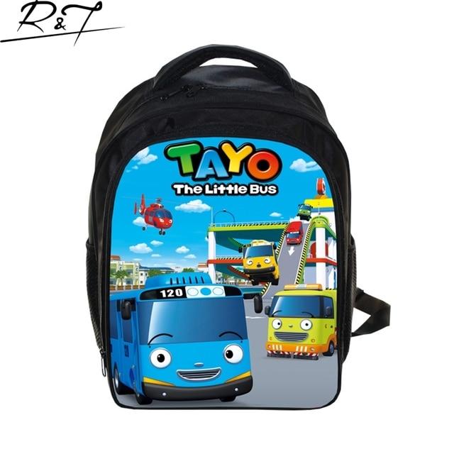 Korea TAYO BUS CAR School Bags for Teenagers 13inch Children Cartoon Print Bags Boys Kindergarten Daily Mochilas Christmas Gift