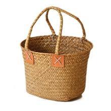 1 pieza Vintage algas tejidas portatil flor fruta cesta almacenamiento cestas