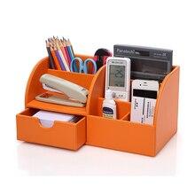 Heißer Verkauf 5-slot home office decor desktop leder aufbewahrungsbehälter-kasten-organisator für fernbedienung kosmetik kleinigkeiten