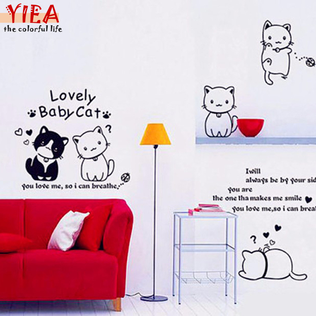 Aliexpresscom  Buy Six Lovely Cat Wall Stickers Many Posture - Custom vinyl wall decals cats