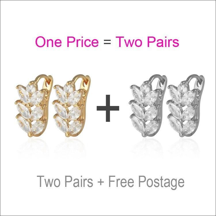 d3083e9cd3209 DOIS PARES de Zircônia Folha de Ouro-cor Hoop Brincos Para Mulheres Ear  Cuff Boucle Aros Brinco de Ouro Brincos Moda Jóias E0411