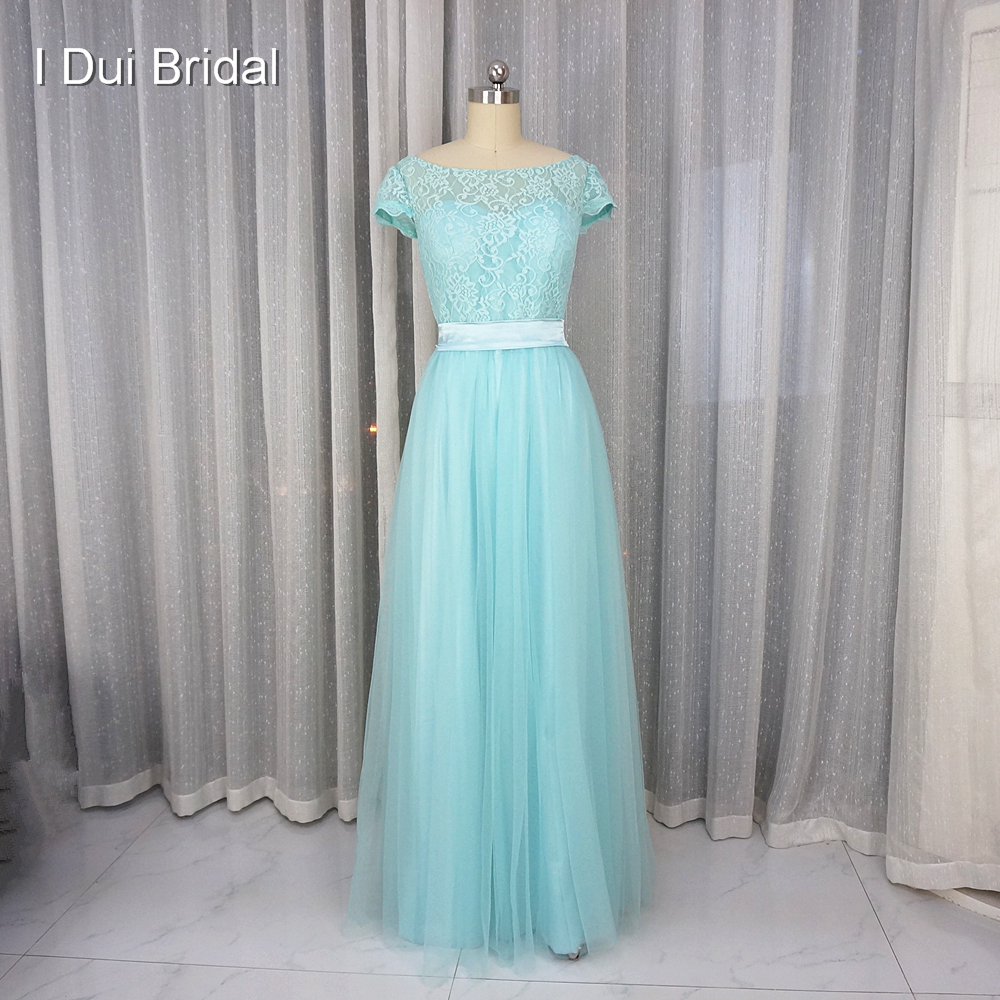 Pool Blue   Bridesmaid     Dress   A line Short Sleeve Lace Tulle with Belt Maid of Honor Formal   Dress
