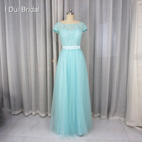 Pool Blue Bridesmaid Dress A Line Short Sleeve Lace Tulle With Belt Maid Of Honor Formal