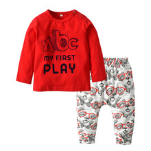 2018 otoño bebé recién nacido niños Boy ropa de algodón de manga larga  Camiseta de la letra divertida Tops + Pantalones ropa inf. 596a5fe9a538