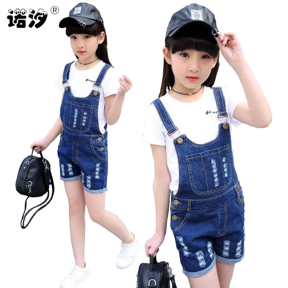 4 15 y meninas denim macacao primavera verao moda novas criancas roupas casuais criancas suspender calcas