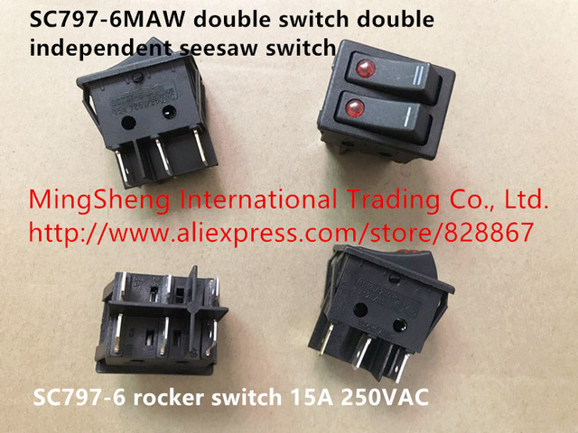 original new 100% sc797-6maw double switch double independent seesaw switch  rocker switch 15a 250vac