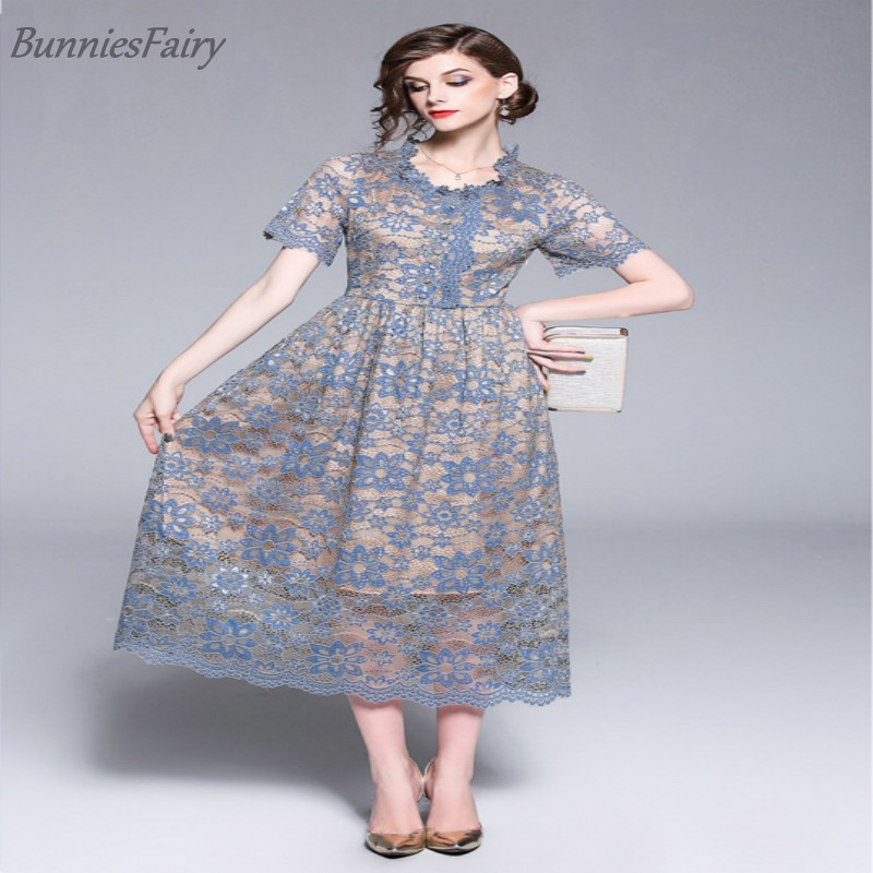 2018 Summer New Sweet Pink Lace Waist Contrast Color Temperament Silm Thinness Lady Elegance Cool Skin Comfort One-piece Dress Dresses
