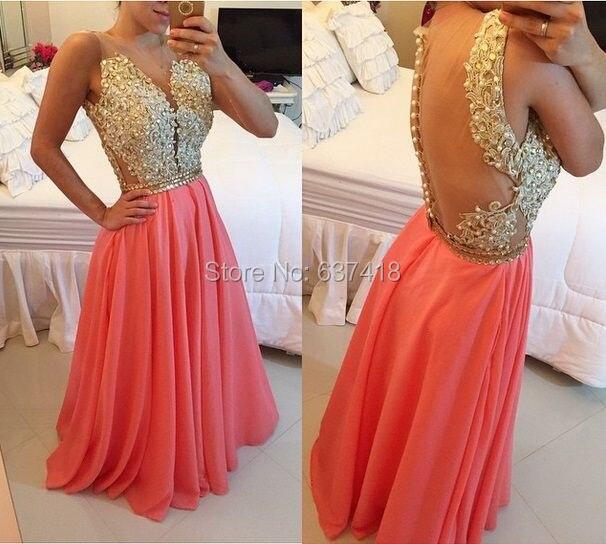 Кружевное платье с аппликацией, кристаллами и блестками, Коралловое платье для выпускного вечера, иллюзия, открытая спина, элегантные длинные вечерние платья, Vestidos Largos Elegantes