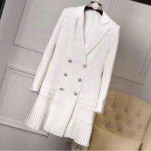 높은 품질 새로운 패션 2018 활주로 디자이너 드레스 여자의 우아한 긴 소매 더블 브레스트 버튼 오피스 드레스 화이트/블랙