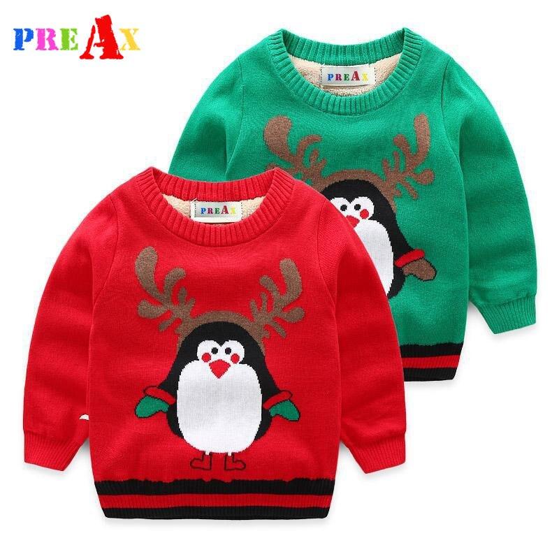 Baby-kleidung Warme Pullover Kinder Kleinkind Kinder Pullover Plus Samt Innen Winter Herbst Stricken Pinguin Top Für Unisex 2-8 Jahre Gute QualitäT