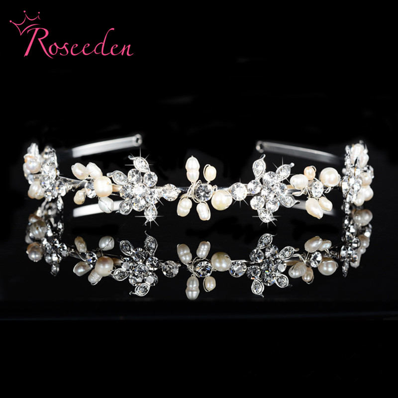 Elegant Rhinestone Pearl Bridal Headband Wedding Hair Accessories Crown Bride Tiara Party Gift Jewelry Silver Plated RE96